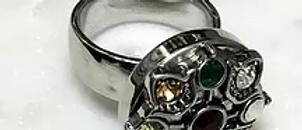 Multi Colour Crystal Antique Silver Base Pop Button