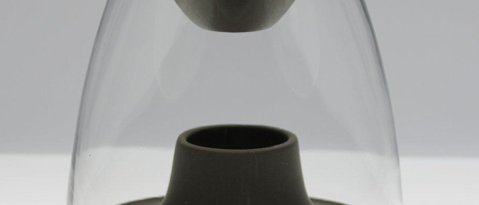 Brown glass dome burner in matt