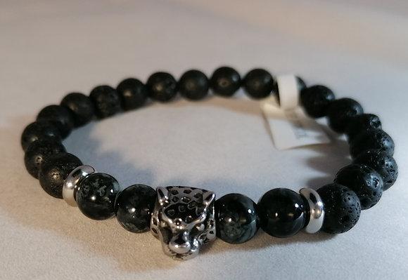 Bracelet Tête de tigre Agathe et perle