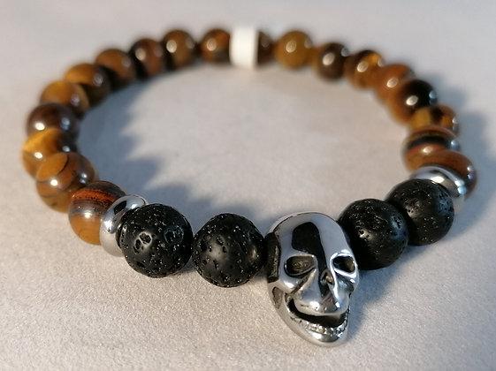 Bracelet Tête de mort acier et perle