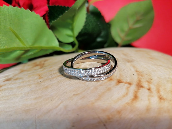 Bague double strass