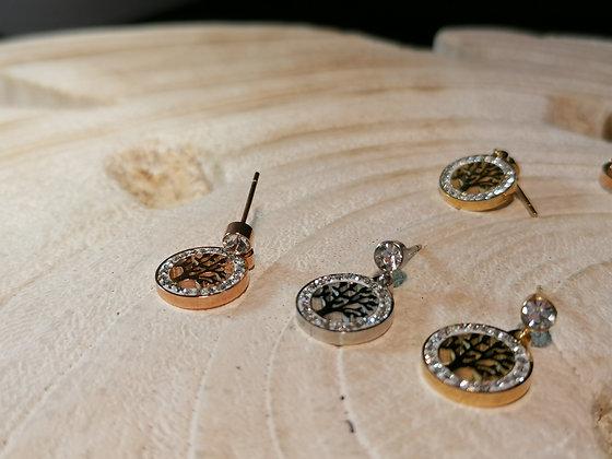 Boucles d'oreilles arbre de vie strass