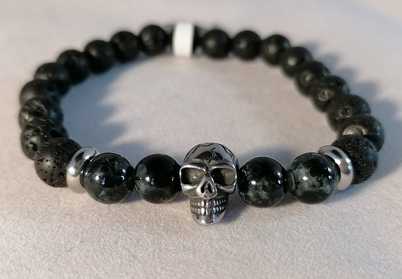 Bracelet Tête de mort Agathe grise et noire, perles noires