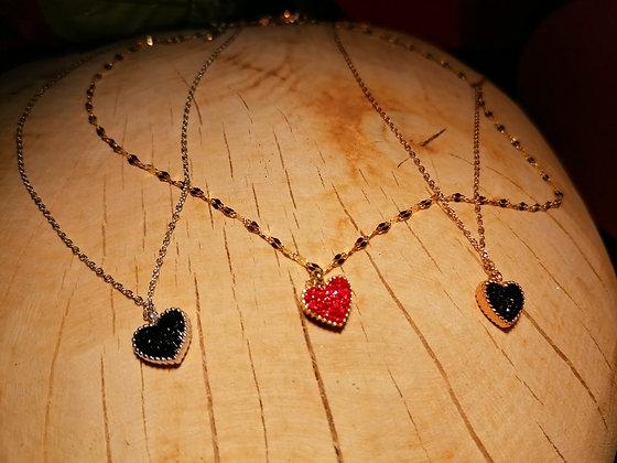 Collier coeur strass bicolore noir rouge