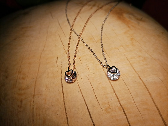 Collier strass petit coeur