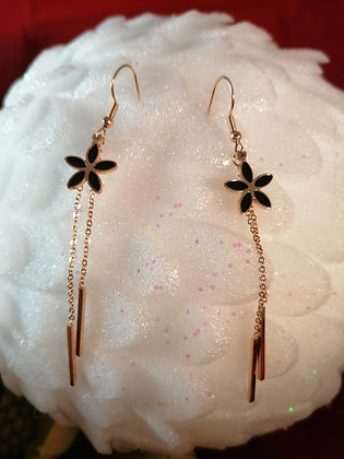 Boucles d'oreilles fleur noire