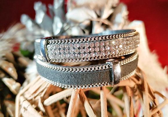 Bracelet double tour strass