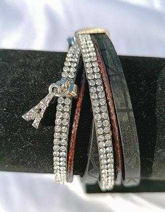 Bracelet double tour cuir et strass