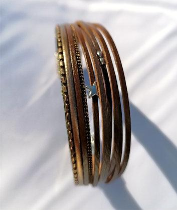 Bracelet cuir étoile