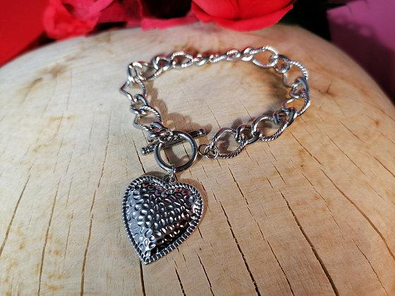 Bracelet chaîne gros coeur