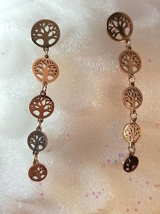 Boucles d'oreilles pendantes arbre de vie