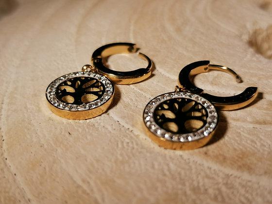 Boucles d'oreilles arbre de vie anneau