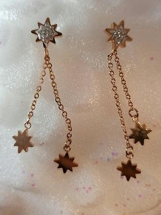 Boucles d'oreilles pendantes étoiles