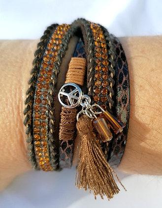 Bracelet double tour cuir et strass marron