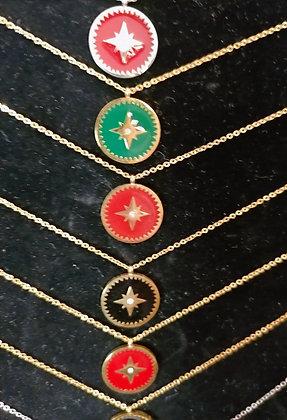 Collier médaillon  étoile polaire