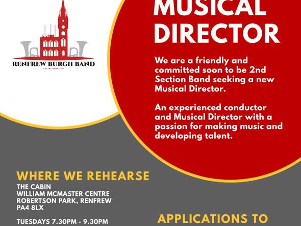 Musical Director Vacancy - Deadline 15/10/21