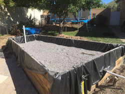 Wicking bed, mid-construction