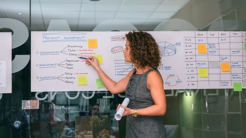 woman explain about concept of innovation with Design Thinking and Kaizen