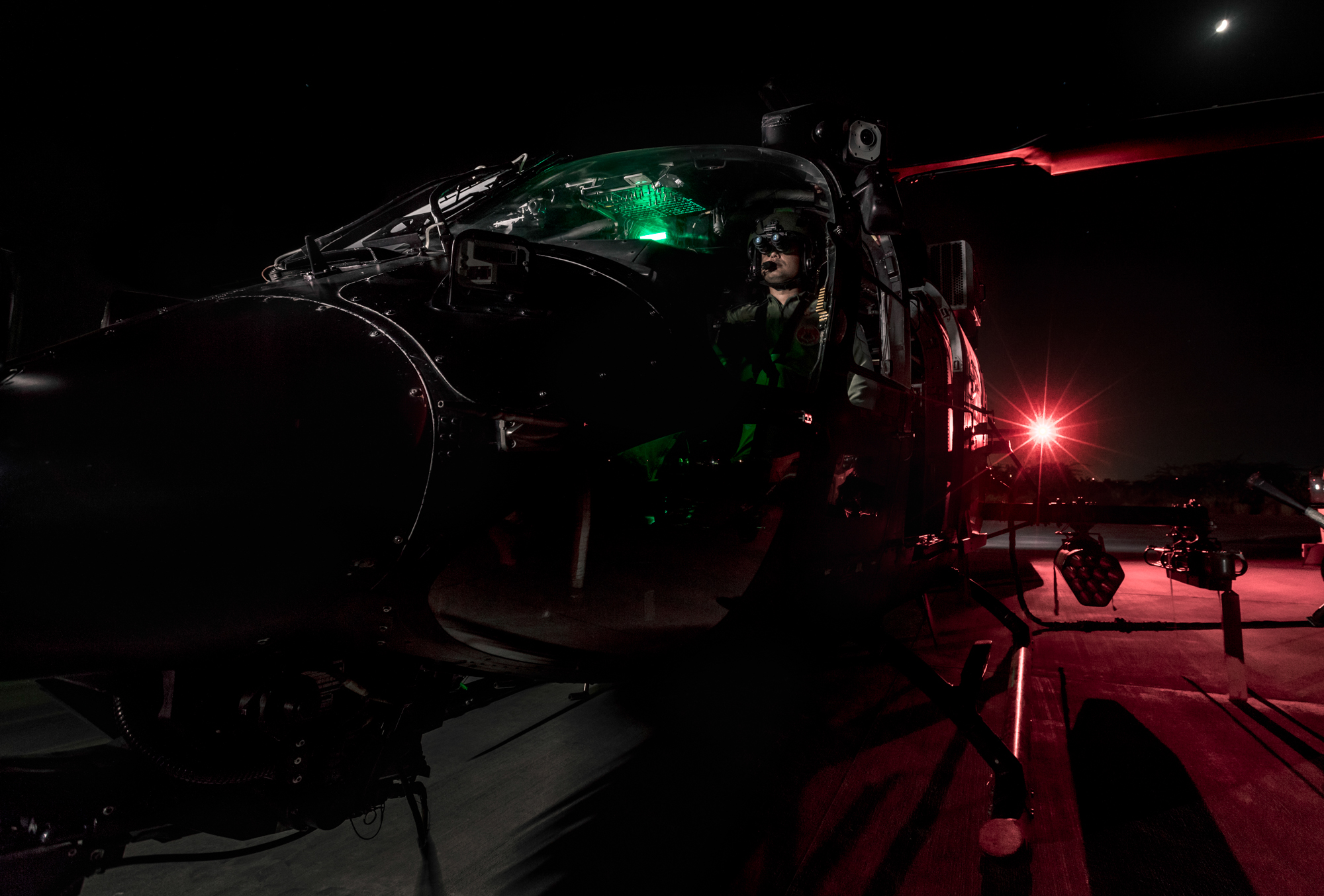 rudra exterior with pilot, night