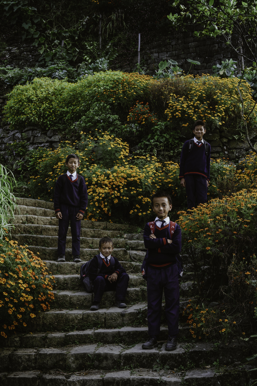 Students, Khonoma, Nagaland, India