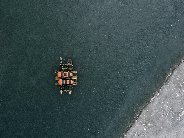 Aerial Brahmaputra river crossing