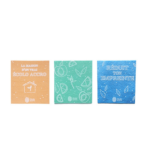 3 reusable cellulose wipes