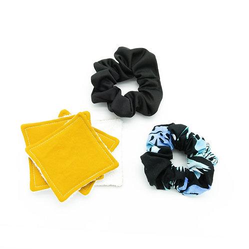 4 tampons démaquillants / 2 chouchous pour cheveux