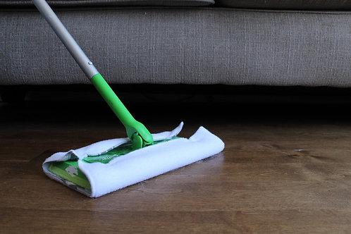 3 lingettes balayage sec des planchers (manche vert)