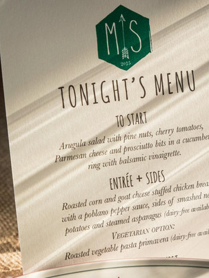 Tonights menu by our on Island professional chefs