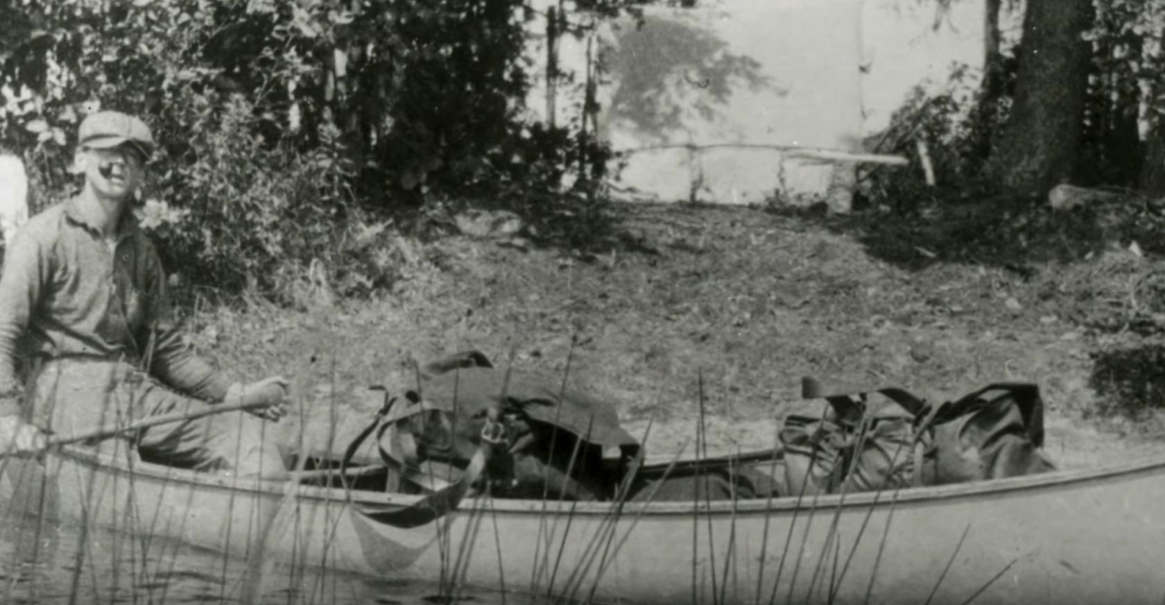 Tom in a canoe