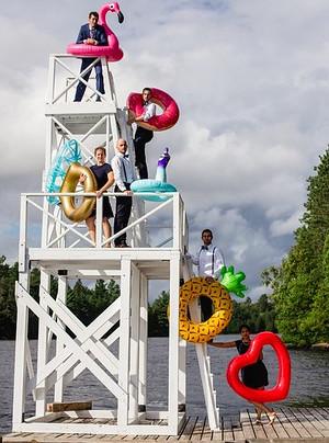 Wedding party lake float fun