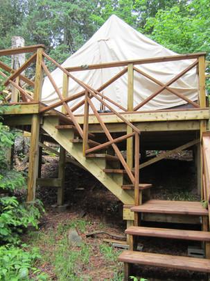 Canvas platform tents for wedding guests