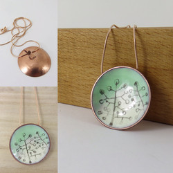 Green and Ivory round pendant