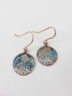 blue and ivory textured earrings