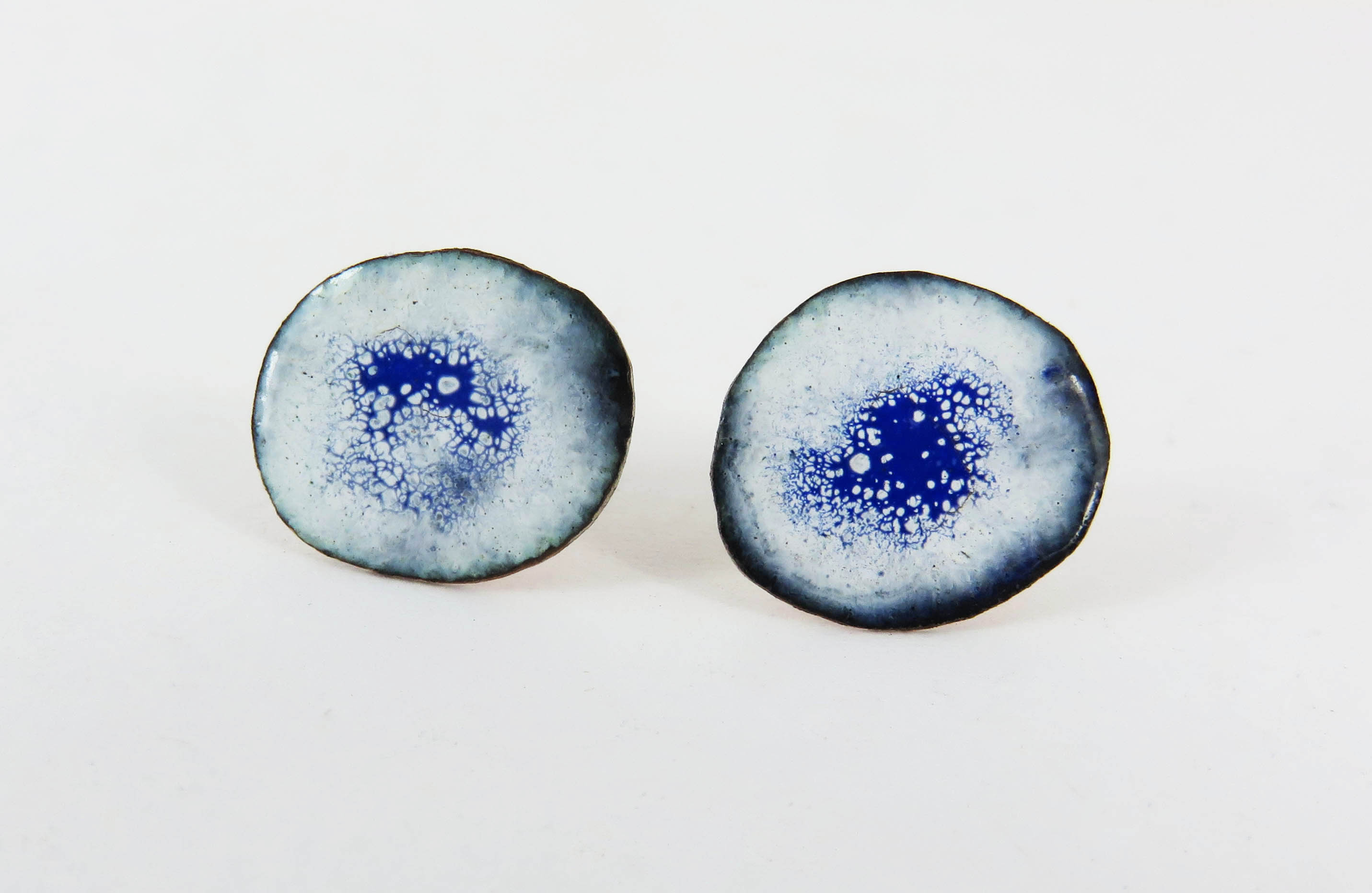 Blue and white studs