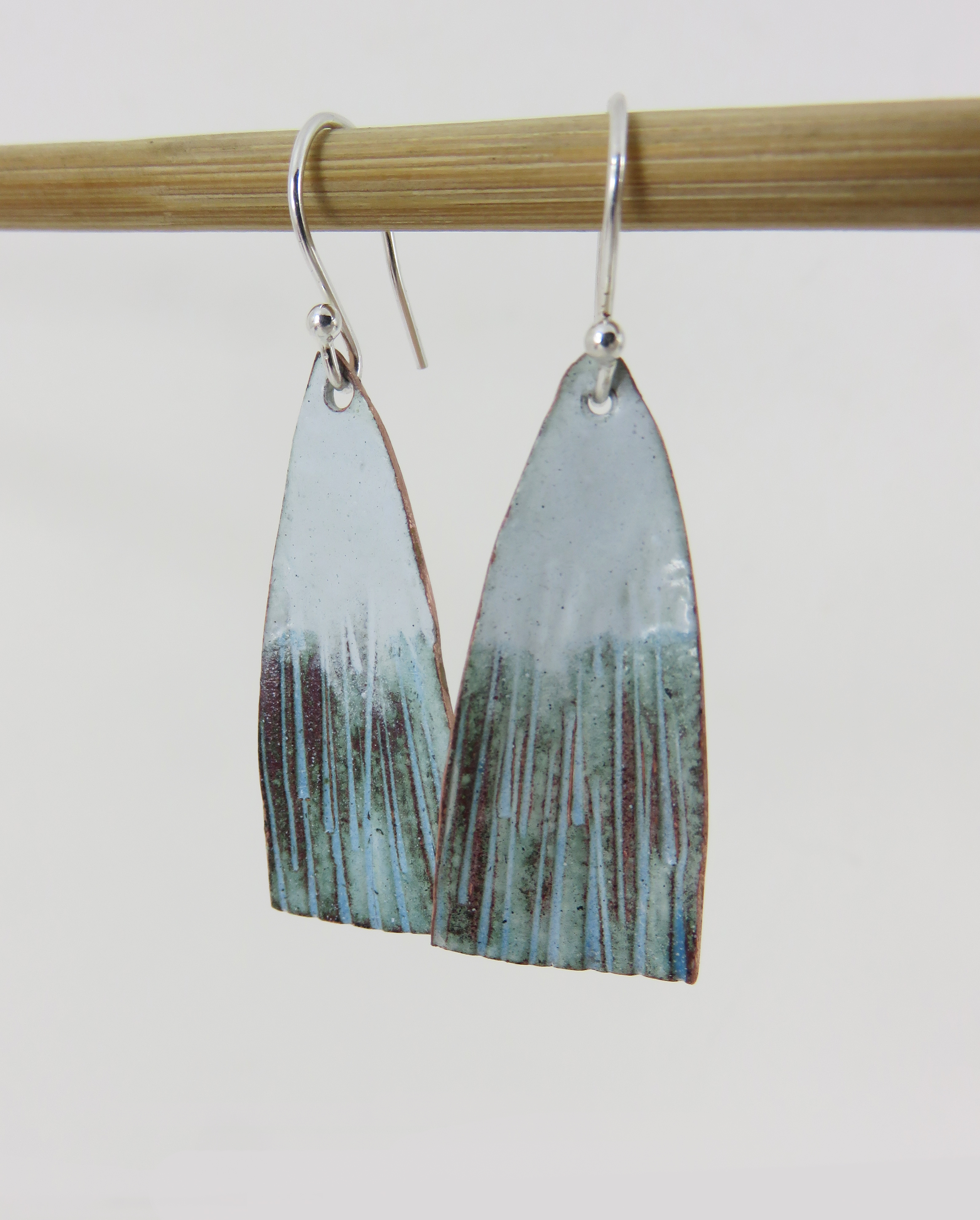 white and turquoise dangles