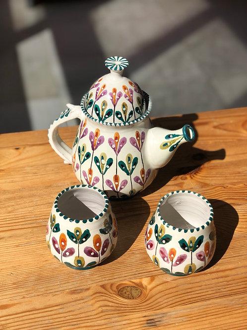 Juego de té cerámica española. Pieza única