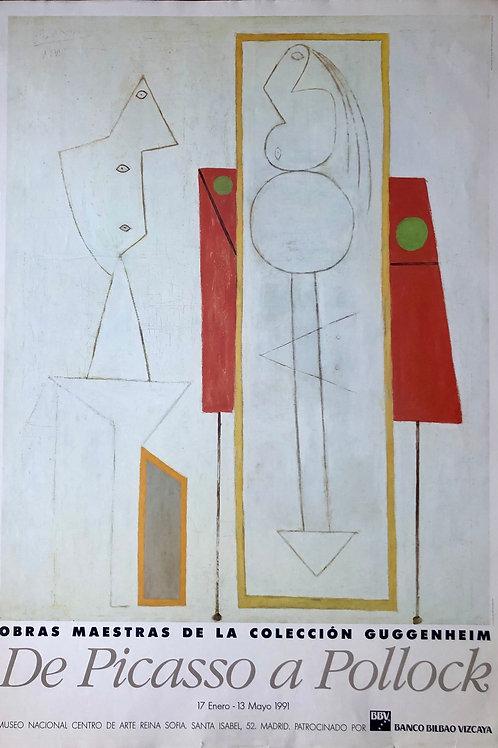 """Cartel original de la exposición """"De Picasso a Pollock"""""""