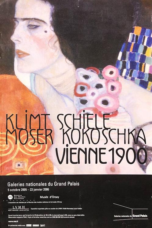 """Cartel original de la exposición """"Viena 1900. Klimt, Schiele..."""" + soporte"""