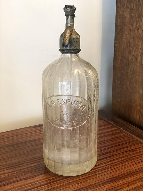 Botella sifón antiguo años 20 cristal