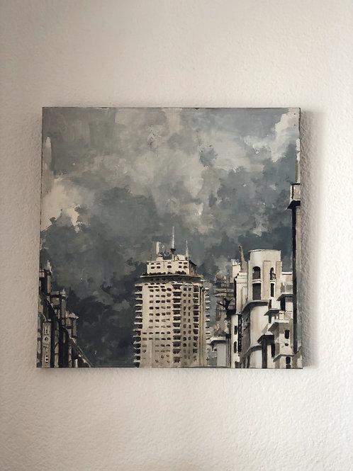 """Óleo """"Edificio"""" de Miguel Vivo"""