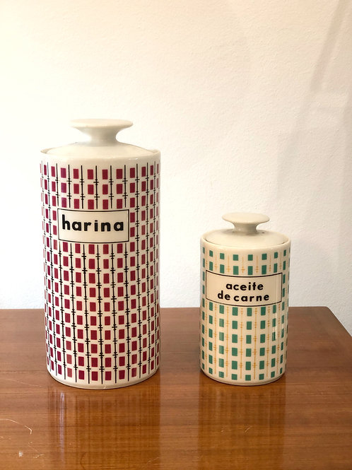 "Botes de porcelana ""Limoges"" harina y aceite de carne"
