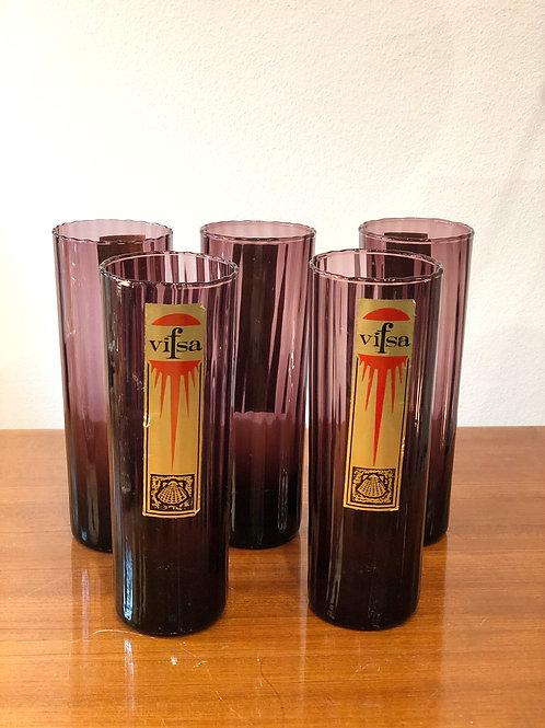 "Juego de vasos vintage de cristal púrpura ""Vifsa"""