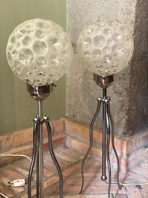 Pareja de lámparas de diseño italiano años 70. Piezas únicas.