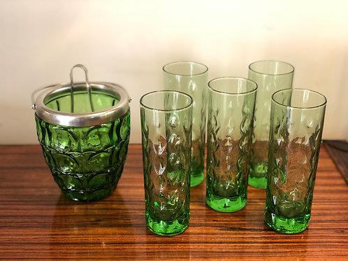 Juego francés de vasos y cubitera cristal años 70