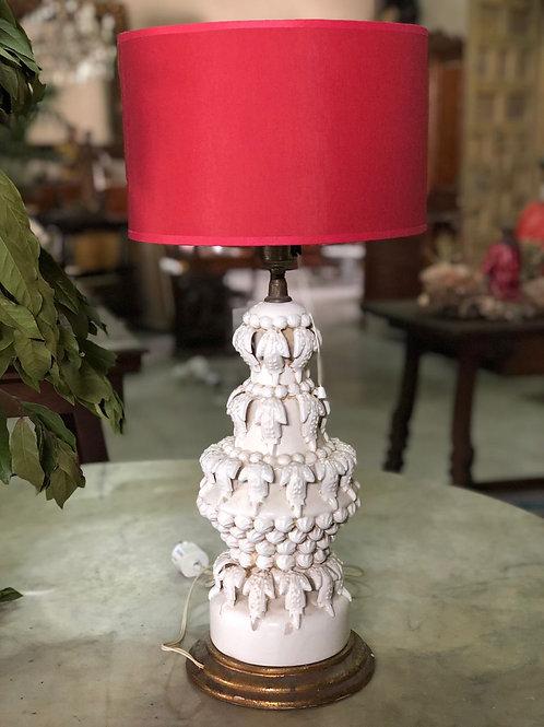 Lámpara cerámica Alcora motivos vegetales años 50