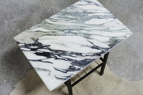 Mesa vintage de mármol y hierro