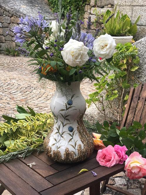 Jarrón florero de cerámica italiana pintado a mano
