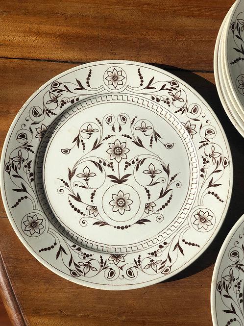 """Juego de platos ingleses 'T.G. & F.B. """"Dresden"""" de 1883"""