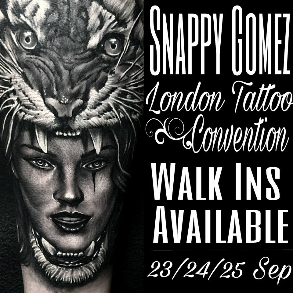 It's that time of year again!  THE LONDON TATTOO CONVENTION IS UPON US!   You can catch Snappy there across the weekend whose left some Walk In space for some of you lucky buggers!   Come by and say hi!